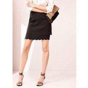LOFT Black Scalloped Mini Skirt